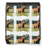 Chestnut Galloping Horse Drawstring Bag