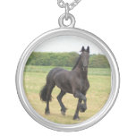 Friesian Horse Silver Necklace