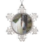 Sweet Connemera Pony Snowflake Pewter Christmas Ornament